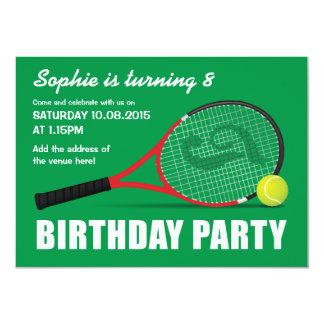 Le tennis folâtre l'anniversaire des enfants de carton d'invitation  11,43 cm x 15,87 cm