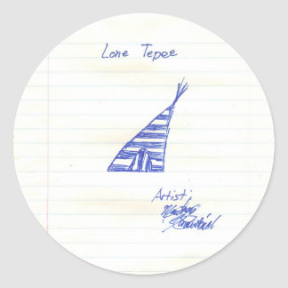 le tepee solitaire sticker rond