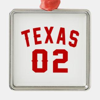 Le Texas 02 conceptions d'anniversaire Ornement Carré Argenté