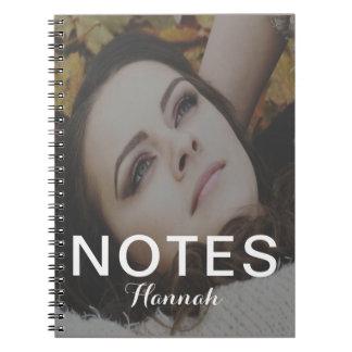 Le texte de notes de blanc ajoutent le nom et le carnet à spirale