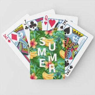 Le texte tropical d'été sur la banane fleurit jeu de poker