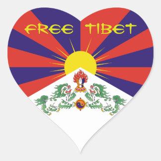 Le Thibet/drapeau tibétain. Le Thibet libre Sticker Cœur