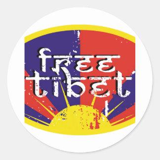 Le Thibet libre Autocollant Rond