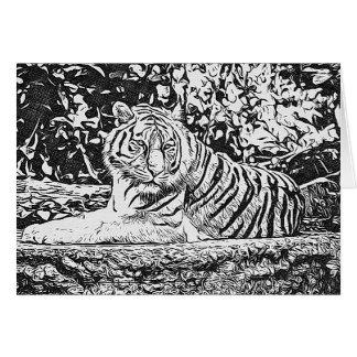 Le tigre adulte de coloration pensant à vous cartes