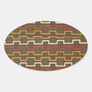 Le tissu donne au rétro les années 70 motif de sticker ovale