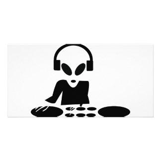le tour étranger noir ajourne l icône du DJ Photocarte Customisée