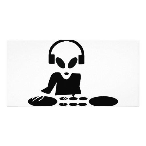 le tour étranger noir ajourne l'icône du DJ Photocarte Customisée