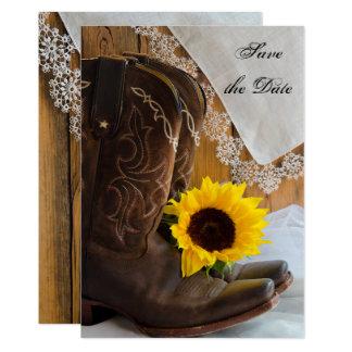 Le tournesol de pays et le mariage de dentelle carton d'invitation  12,7 cm x 17,78 cm