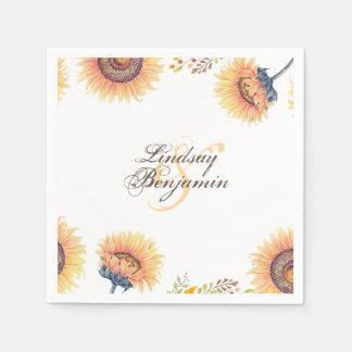 Le tournesol fabuleux fleurit mariage rustique serviette jetable