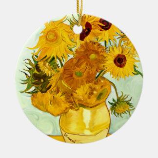 Le tournesol jaune de Vincent van Gogh peignant Ornement Rond En Céramique
