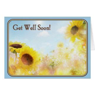 Le tournesol obtiennent des souhaits bons carte de vœux