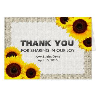Le tournesol rustique vous remercient sunflower1 cartes de vœux