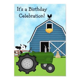 Le tracteur vert et l'anniversaire bleu de grange carton d'invitation  12,7 cm x 17,78 cm