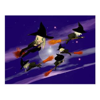 Le trafic de sorcière de Halloween Carte Postale