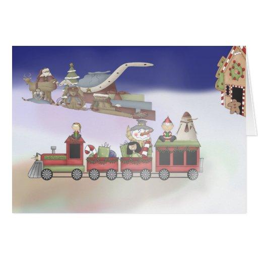 Le train de Père Noël Carte De Vœux