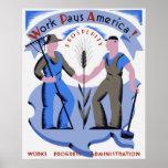 Le travail paye l'affiche de l'Amérique Affiche