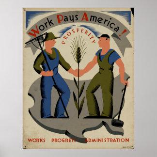 Le travail paye le poster vintage 1939 de