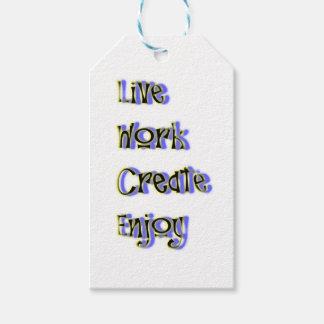 le travail vivant créent apprécient étiquettes-cadeau