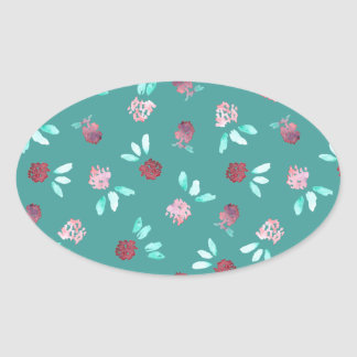 Le trèfle fleurit l'autocollant ovale brillant sticker ovale