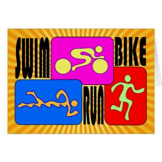 Le TRI vélo de bain de triathlon courent la concep Carte De Vœux