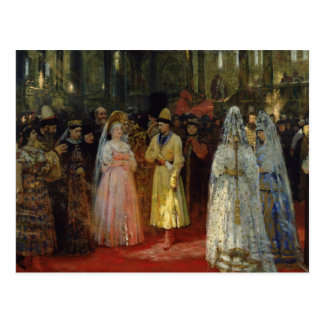 Le tsar choisissant une jeune mariée, c.1886 carte postale