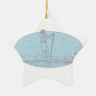 Le type tiennent le dessin ovale d'île tropicale ornement étoile en céramique