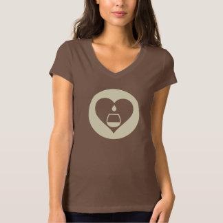 Le V-Cou des femmes graphiques crèmes de logo de T-shirt
