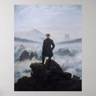 Le vagabond au-dessus de la mer du brouillard posters