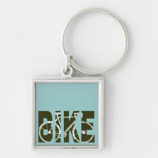 le vélo. cycle. recyclage porte-clé carré argenté