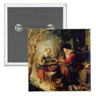 Le vendeur de crêpe, 1650-55 (huile sur le panneau badge
