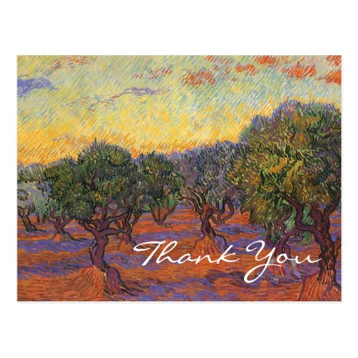 Le verger olive de Van Gogh, ciel orange Carte Postale