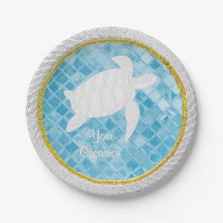 Le verre bleu de mer de corde de tortue de mer assiettes en papier