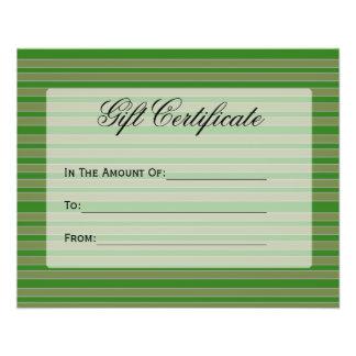 Le vert barre le certificat-prime prospectus avec motif