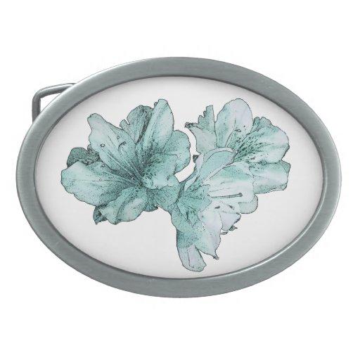 Le vert bleu d Aqua a illustré la personnaliser de Boucles De Ceinture Ovales