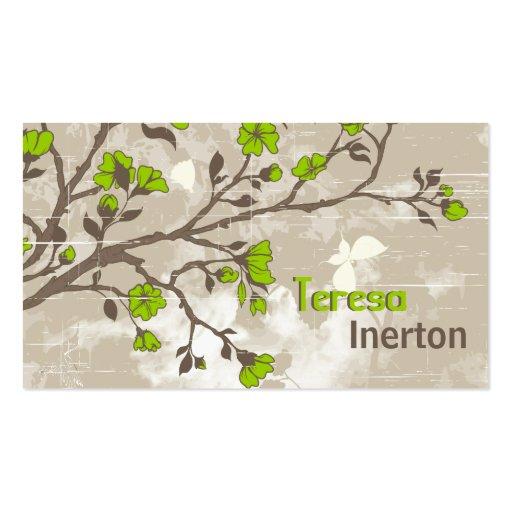 Le vert de chaux vintage fleurit le taupe grunge f modèle de carte de visite