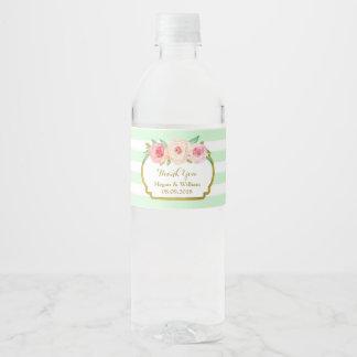 Le vert en bon état barre l'étiquette floral de étiquette pour bouteilles d'eau