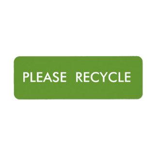 Le vert réutilisent l'expédition d'avertissement étiquettes d'adresse retour