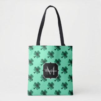 Le vert vert miroite monogramme de trèfle de sac