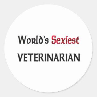 Le vétérinaire le plus sexy du monde autocollants ronds