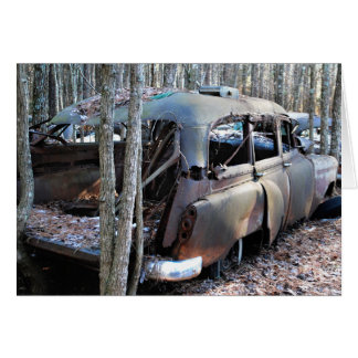 Le vieux cru a détruit la voiture carte de vœux