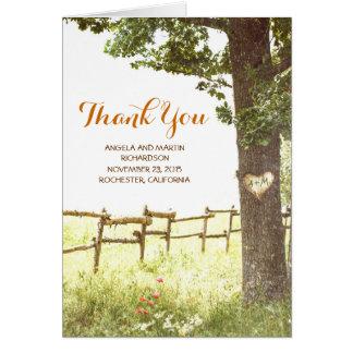 le vieux mariage campagnard rustique d'arbre vous cartes de vœux