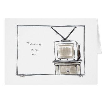 Le vieux poste TV de télévision m'effraye art de p Cartes De Vœux