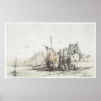 """Le vieux quart de """"Le Pollet"""" de Dieppe, 1856-57 Affiches"""