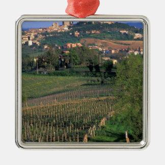 Le village de San Gimignano se repose dans le Ornement Carré Argenté