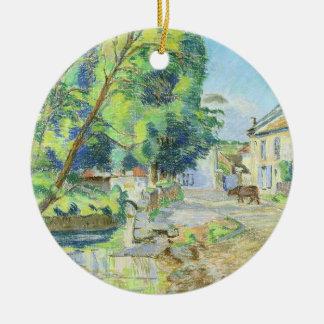 Le village (en pastel sur le papier) ornement rond en céramique