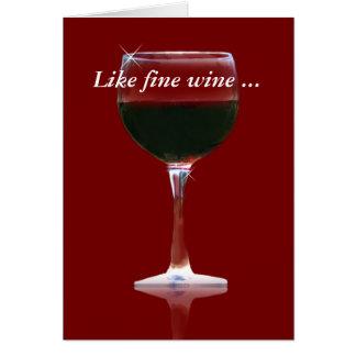 Le vin fin apprécient le carte de remerciements