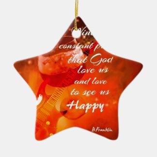 Le vin nous rend heureux ornement étoile en céramique