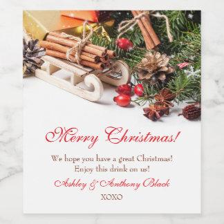 Le vin personnalisé de Noël marque le décor de Étiquette Pour Bouteilles De Vin