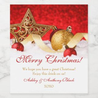 Le vin personnalisé de Noël marque le rouge d'or Étiquette Pour Bouteilles De Vin