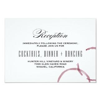 Le vin souille la carte de réception de mariage de